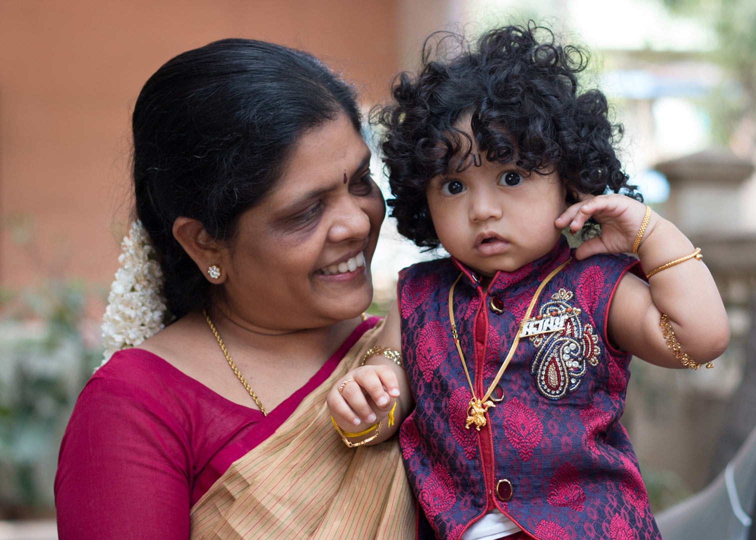 Baby Ajay with his grandmother